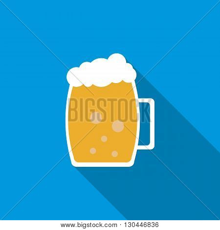Light beer mug icon in flat style with long shadow
