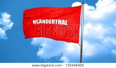 neanderthal, 3D rendering, a red waving flag