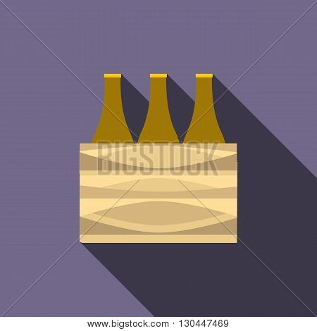Brown beer bottles icon in flat style with long shadow