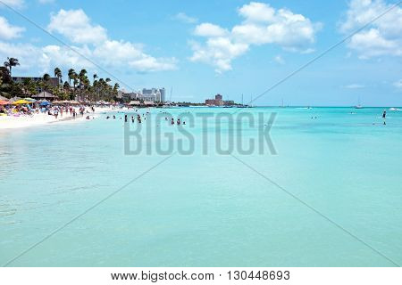 Palm beach on Aruba island in the Caribbean