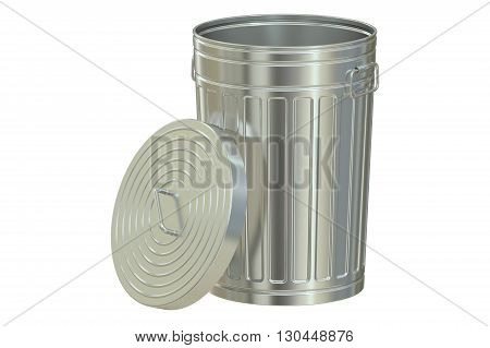 metallic garbage can 3D rendering isolated on white background