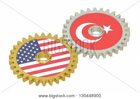 USA and Turkish flags on a gears 3D rendering isolated on white background