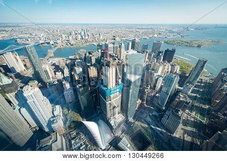 Downtown Manhattan world trade center aerial shot