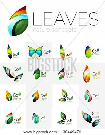 Futuristic design eco leaf logos set. Colorful abstract geometric leaves, green concepts