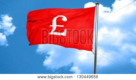 pound sign, 3D rendering, a red waving flag