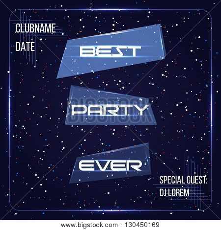 Abstract space technology background. Party banner, DJ poster. Vector illustration