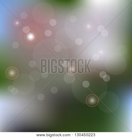 Blurred blue, pink, white, green background with sequins, vector illustration