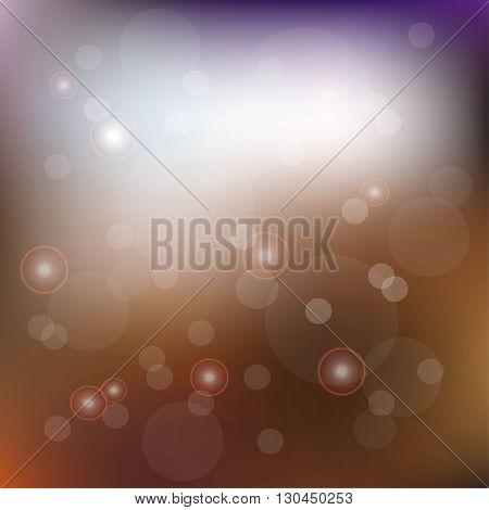 Blurred blue, orange, brown background with sequins, vector illustration