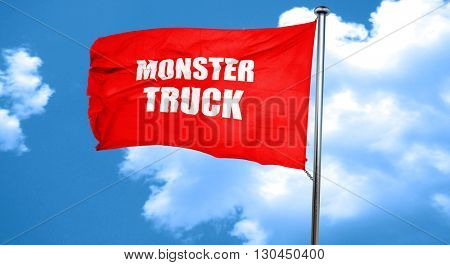 monster truck sign background, 3D rendering, a red waving flag
