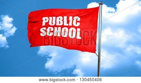 public school, 3D rendering, a red waving flag