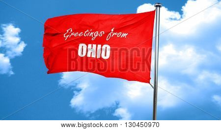Greetings from ohio, 3D rendering, a red waving flag