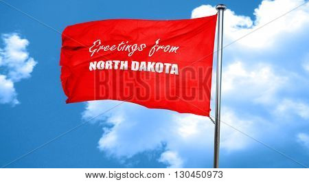 Greetings from north dakota, 3D rendering, a red waving flag