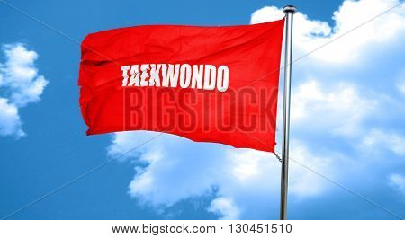 taekwondo sign background, 3D rendering, a red waving flag