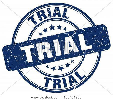 trial blue grunge round vintage rubber stamp