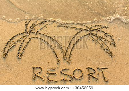 Word Resort and palm trees - drawn by hand on a light-golden beach sand.