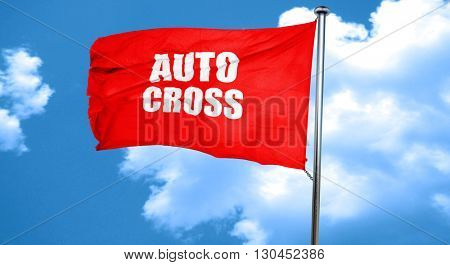 auto cross sign background, 3D rendering, a red waving flag