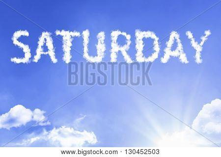 Saturday cloud word with a blue sky