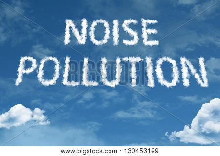 Noise Pollution cloud word with a blue sky