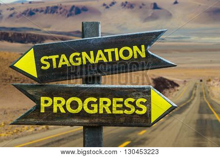 Stagnation - Progress crossroad in a desert background