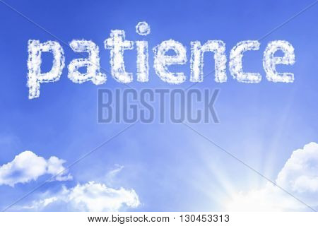 Patience cloud word with a blue sky