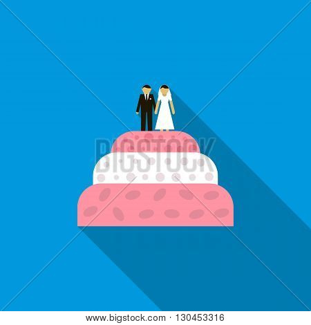 Wedding cake icon in flat style with long shadow. Love and celebration symbol