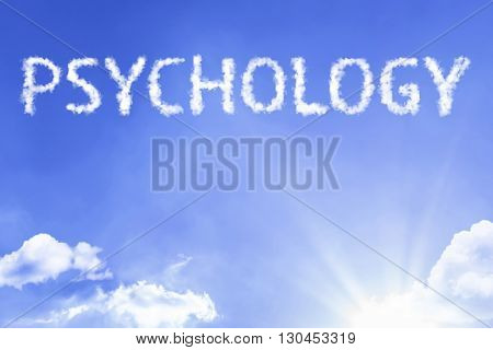 Psychology cloud word with a blue sky