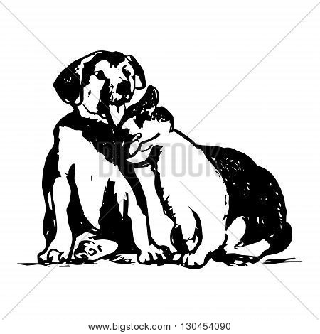 Graphic image of domestic animals. Puppy and cat friends abstract illustration on white background. Vector illustration