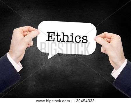 Ethics written on a speechbubble