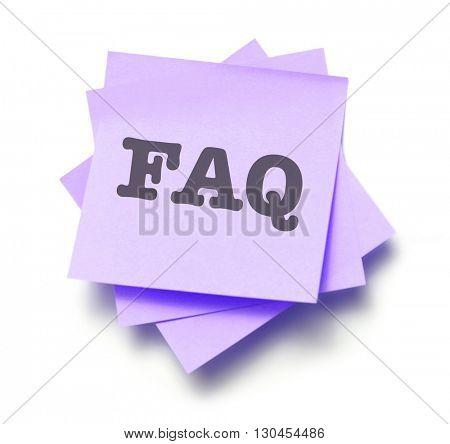 FAQ written on a note