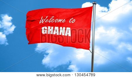 Welcome to ghana, 3D rendering, a red waving flag