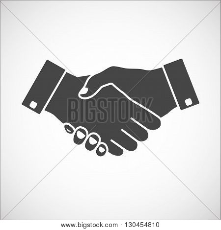 Handshake icon gray with gay fill. Hand gesture used as a greeting. In business used for the deal or agreement to become binding.