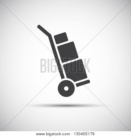 Manual cart icon simple hand truck with boxes vector illustration
