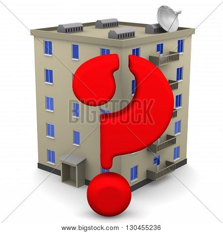 Housing issue. Red symbol of the question against the backdrop of an apartment building. Isolated. 3D Illustration