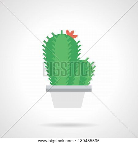 Green prickly cactus with red flower in white pot isolated on white. Exotic houseplants, blossom home decoration, Botany and flora sign. Flat color design vector icon.
