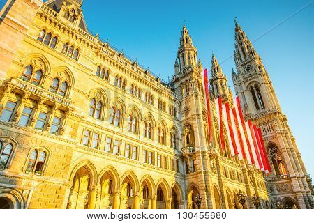 View on Rathaus city hall with austrian flags in Vienna on the sunrise