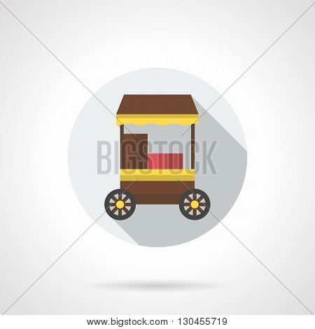 Brown trolley for street cafe on wheels. Hot coffee and food, delivery and service. Trade in parks, festivals, markets. Round flat color style vector icon with long shadow design.