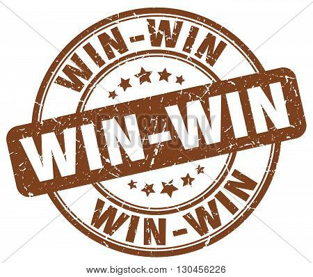 win-win brown grunge round vintage rubber stamp