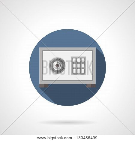 Gray steel safe box with round lock. Protective equipment, storage of money and treasures, security systems for banking and office. Round flat color style vector icon with long shadow.