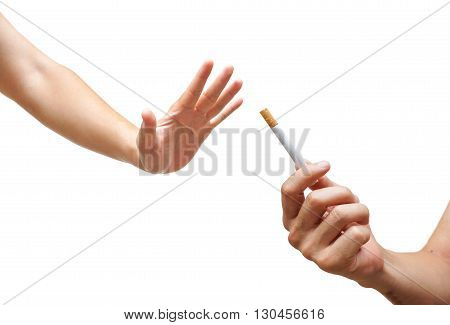 Stop smoking cigarette for health concept isolated