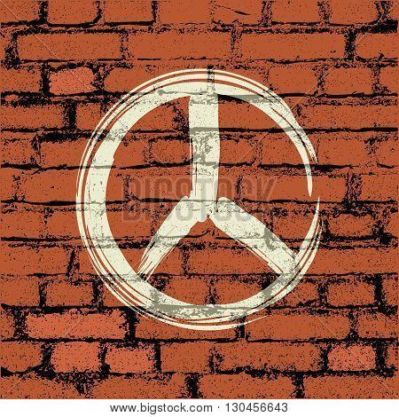 peace symbol on brick wall - vector illustration