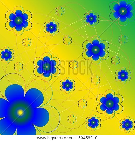 Vector floral pattern with a gold mesh on the greenish yellow background