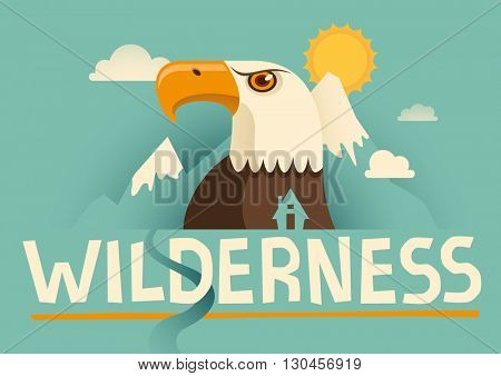 Illustrated poster with eagle. Vector illustration.