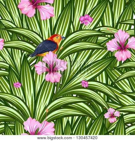 illustration of seamless pattern with exotic tropical flower and colorful bird