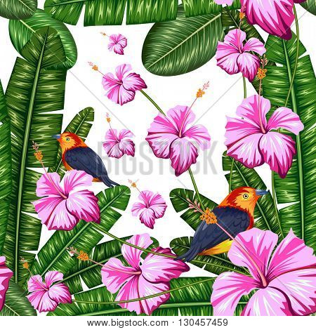 illustration of seamless pattern with exotic tropical flower