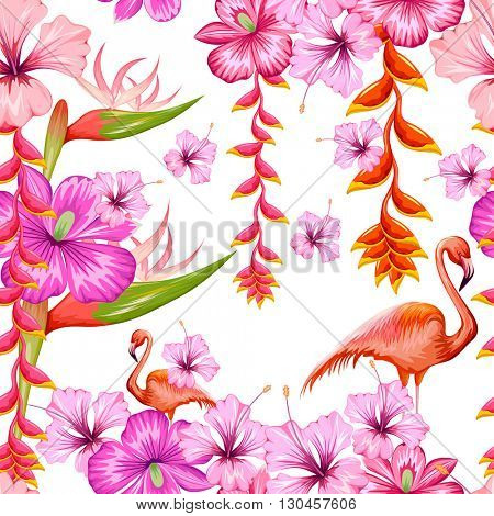 illustration of seamless pattern with exotic tropical flower and flamingo