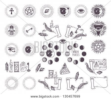 Astrology esoteric vector icons.