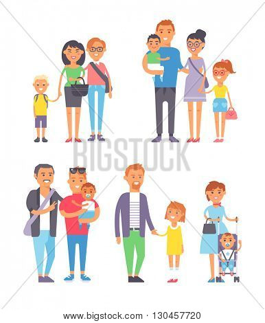 Family people vector set.