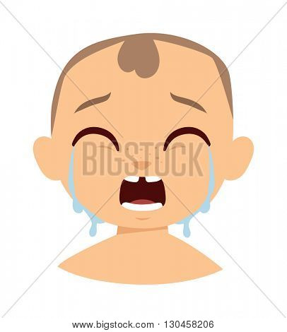 Crying boy face vector illustration.