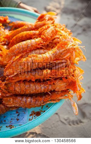 Fresh deep fried battered lobster. Traditional khmer cuisine