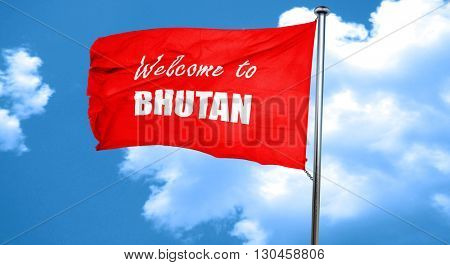 Welcome to bhutan, 3D rendering, a red waving flag
